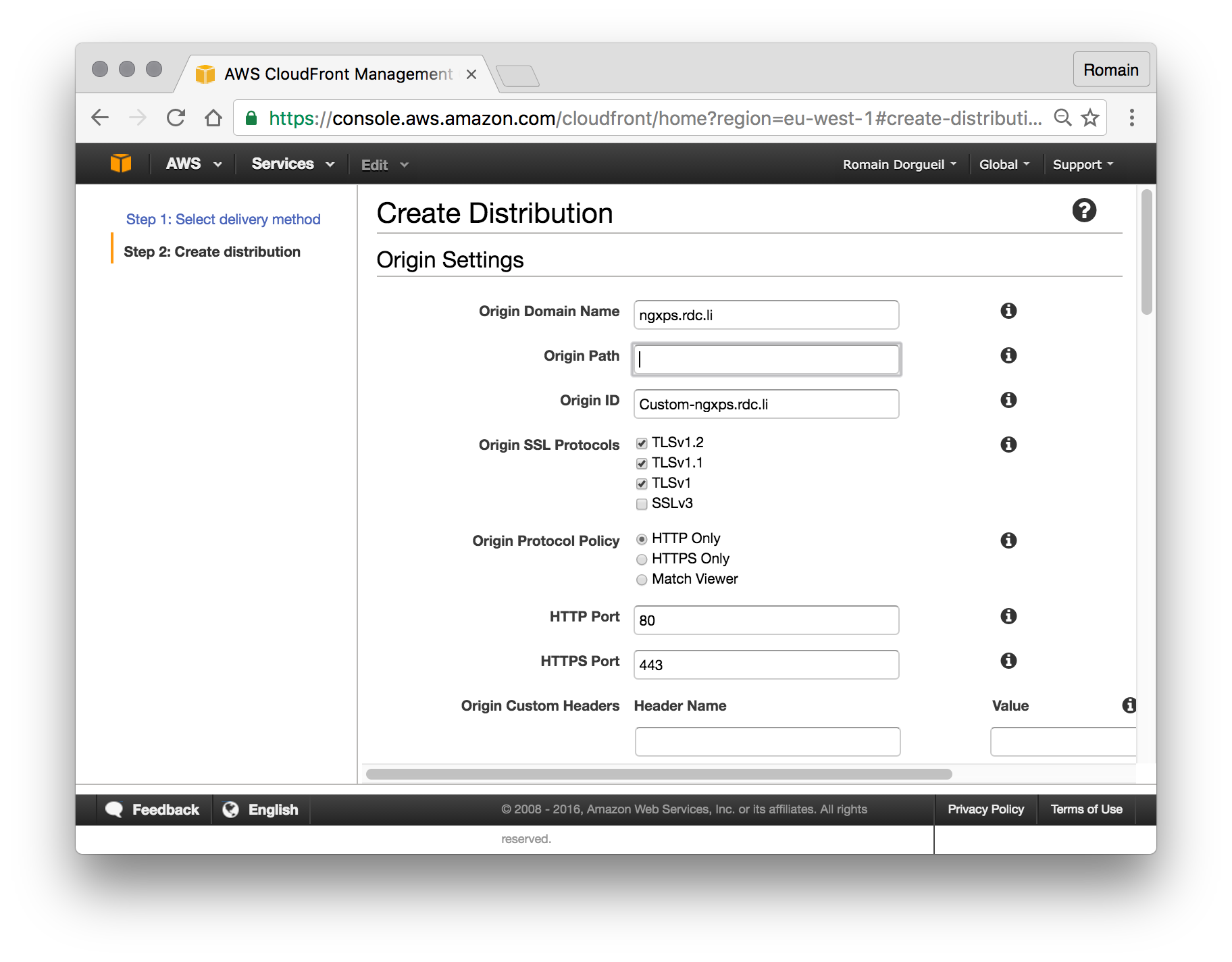 Cloudfront distribution creation, part 1: fully qualified domain name.