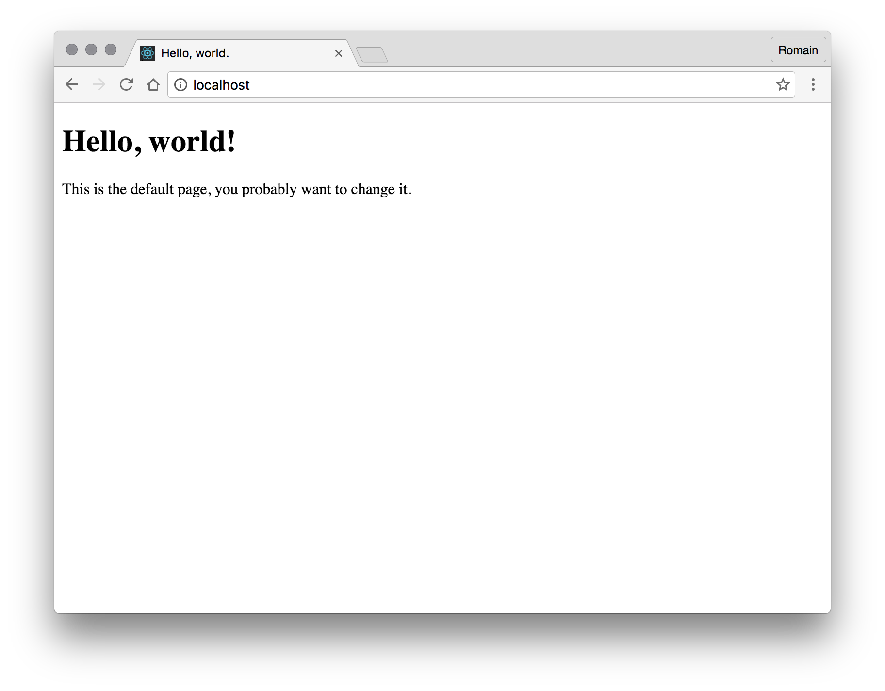 Welcome, stupid default hello world page!
